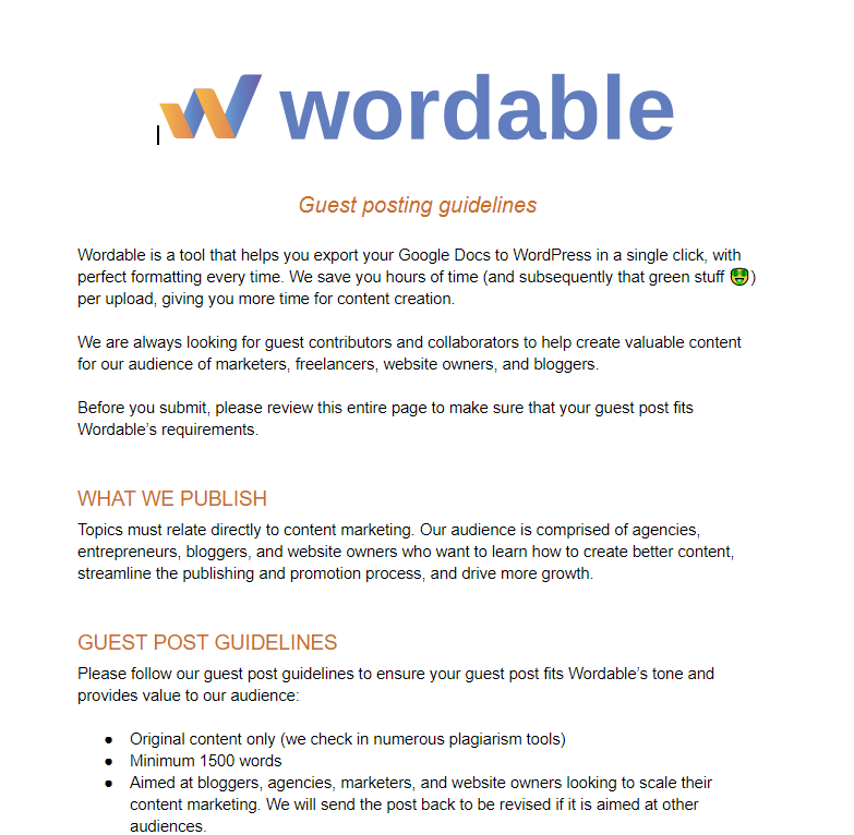 A screenshot showing guest post guidelines from Wordable.